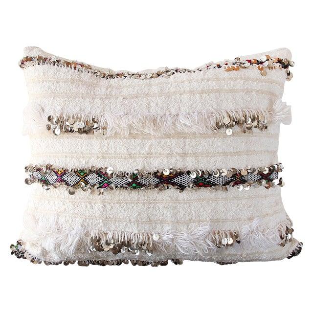 Moroccan Handira Wedding Blanket Pillow II - Image 1 of 7