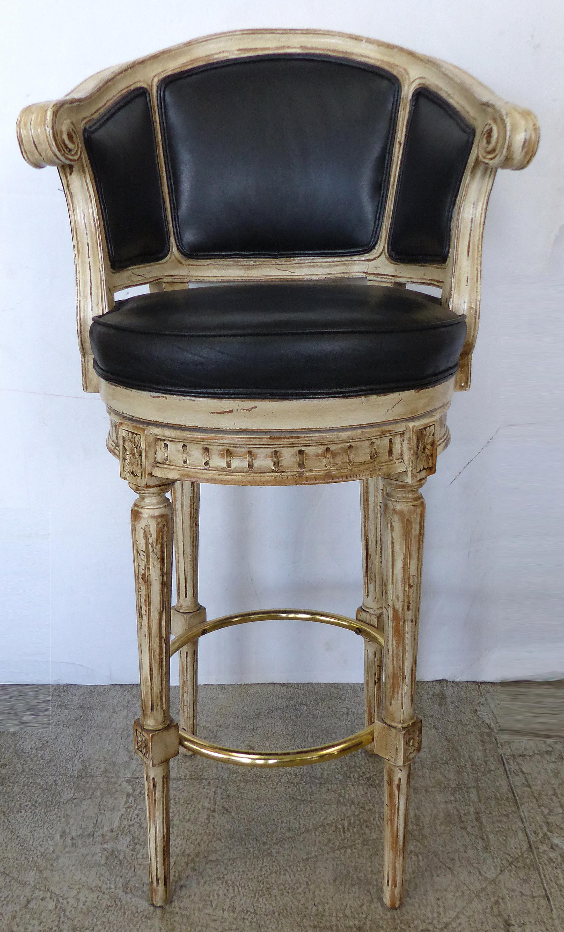 Louis Xvi Carved Wood Swivel Bar Stools A Pair Chairish