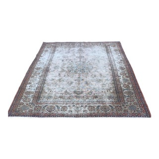 Distressed Antique Persian Isphahan Rug - 7′2″ × 10′3″