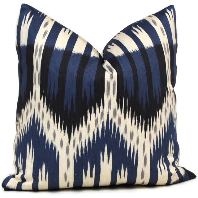 "20"" x 20"" Schumacher Bukhara Ikat Decorative Pillow Cover - Image 2 of 3"