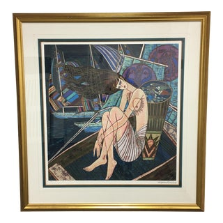 """Custom Framed Serigraph """"Wind and Sea"""" by Ting Shao Kuang 97/275 1995"""