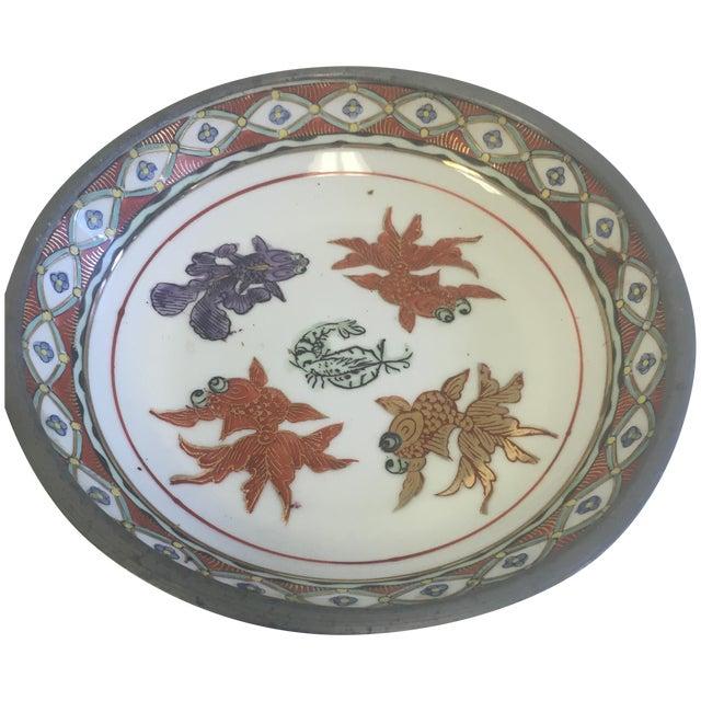 Vintage chinoiserie pewter edged koi fish bowl chairish for Koi fish bowl