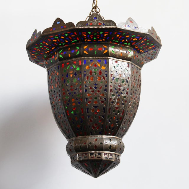Moroccan Brass & Colored Glass Lantern - Image 3 of 5