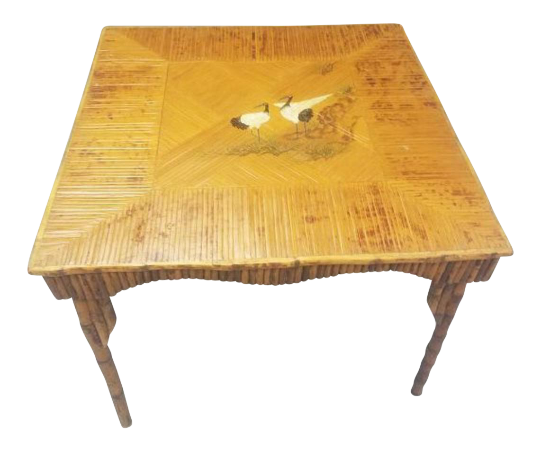 Elegant 1940s Bamboo, Rattan Game Table