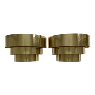 Art Deco Style Brass Wall Sconces - A Pair