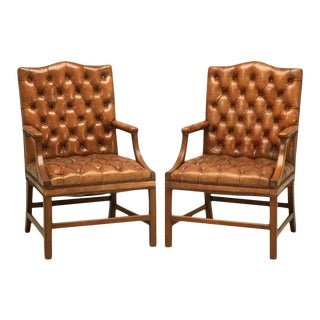 Vintage English Button Tufted Leather Chesterfield Armchairs - A Pair