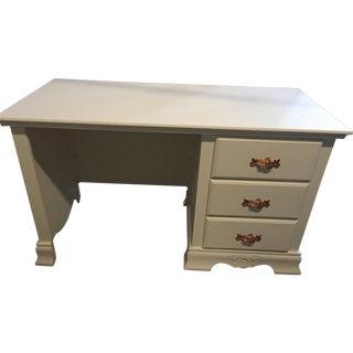 Large White Wood Desk, Rose Gold