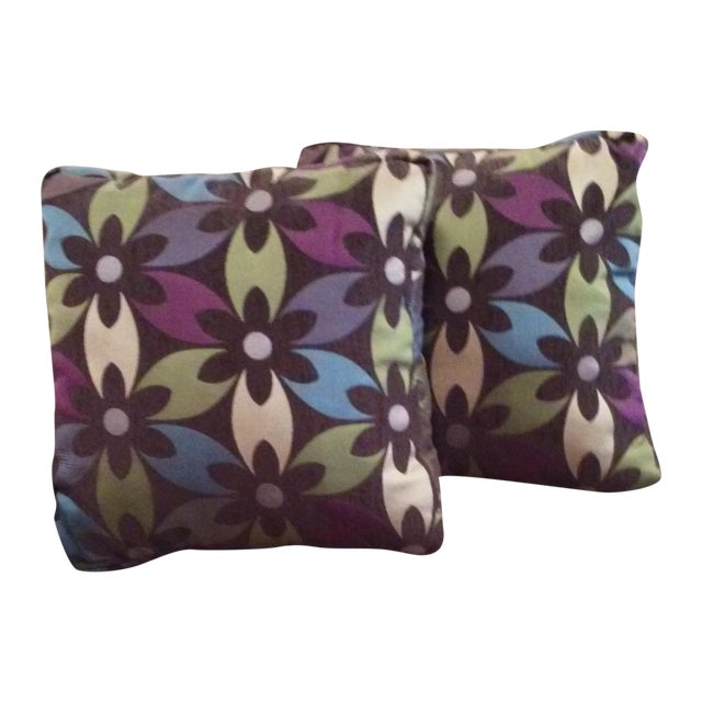 Image of Purple Floral Boho Chic Pillows - Pair