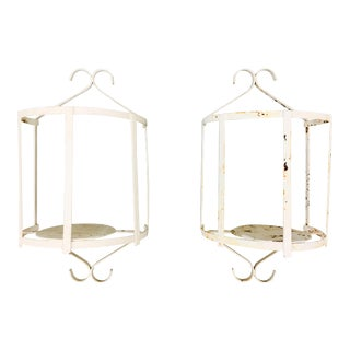 Wrought Iron Demi Lune Wall Sconces - A Pair