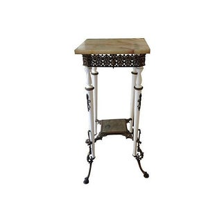 Marble & Brass Table with Antique Mirror