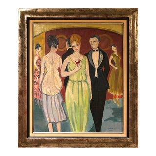 """French """"Rene Mendes of the Ballroom"""" Oil on Canvas Painting"""
