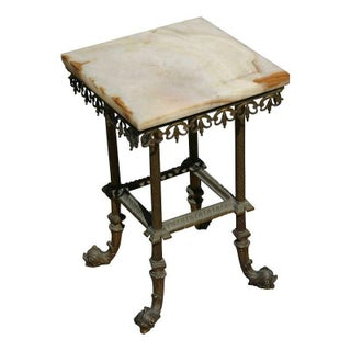 Antique Onyx & Iron Side Table