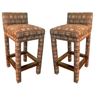 Incredible Pair of Parsons Style Bar Stools