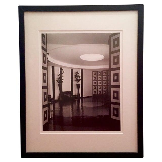 B&W Framed Geometric Art Deco Foyer Print - Image 1 of 4