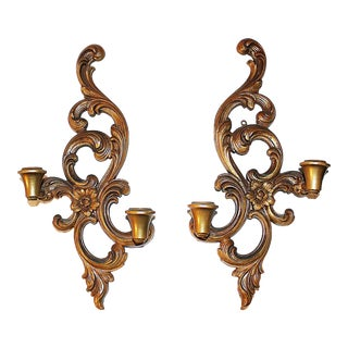 Syroco Rococo Wall Candle Sconces - A Pair