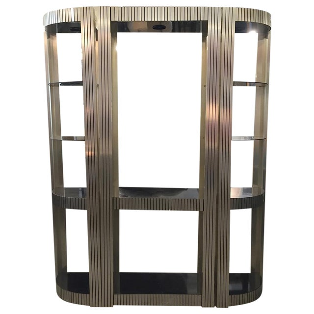 Image of Vintage Three-Piece Black and Gold Etagere