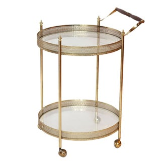 Vintage French Brass Bar Serving Cart