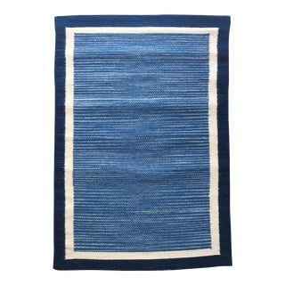 Hand Dyed Mexican Indigo Blue Wool Rug - 1′11″ × 2′9″