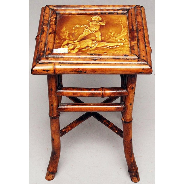 Antique Bamboo Amp Majolica Side Table Chairish