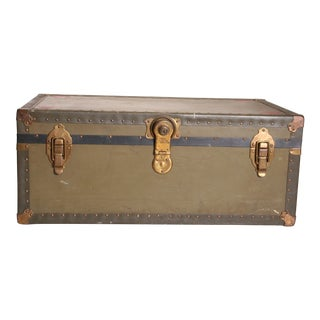 Vintage Industrial Green Military Foot Locker Trunk with Tray