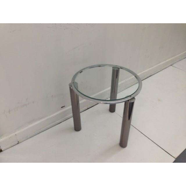Karl Springer Style Chrome End Table - Image 4 of 6