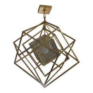 Geometric Gold Cube Pendant Light