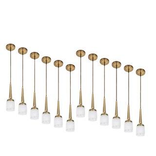 1960s Staff Leuchten Glass & Brass Pendant