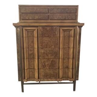 JL Metz Mid-Century Burl Wood Highboy Dresser