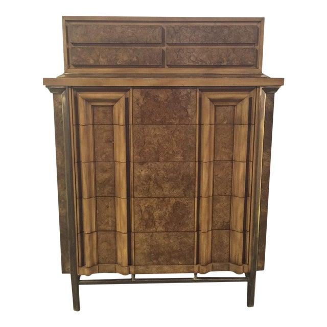 Image of JL Metz Mid-Century Burl Wood Highboy Dresser