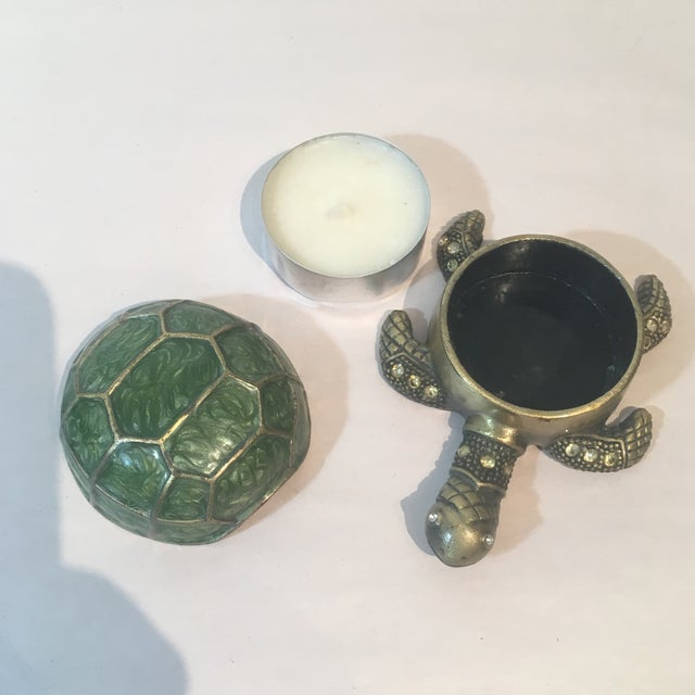 Brass & Green Turtle Votive Candle Holder - Image 5 of 9