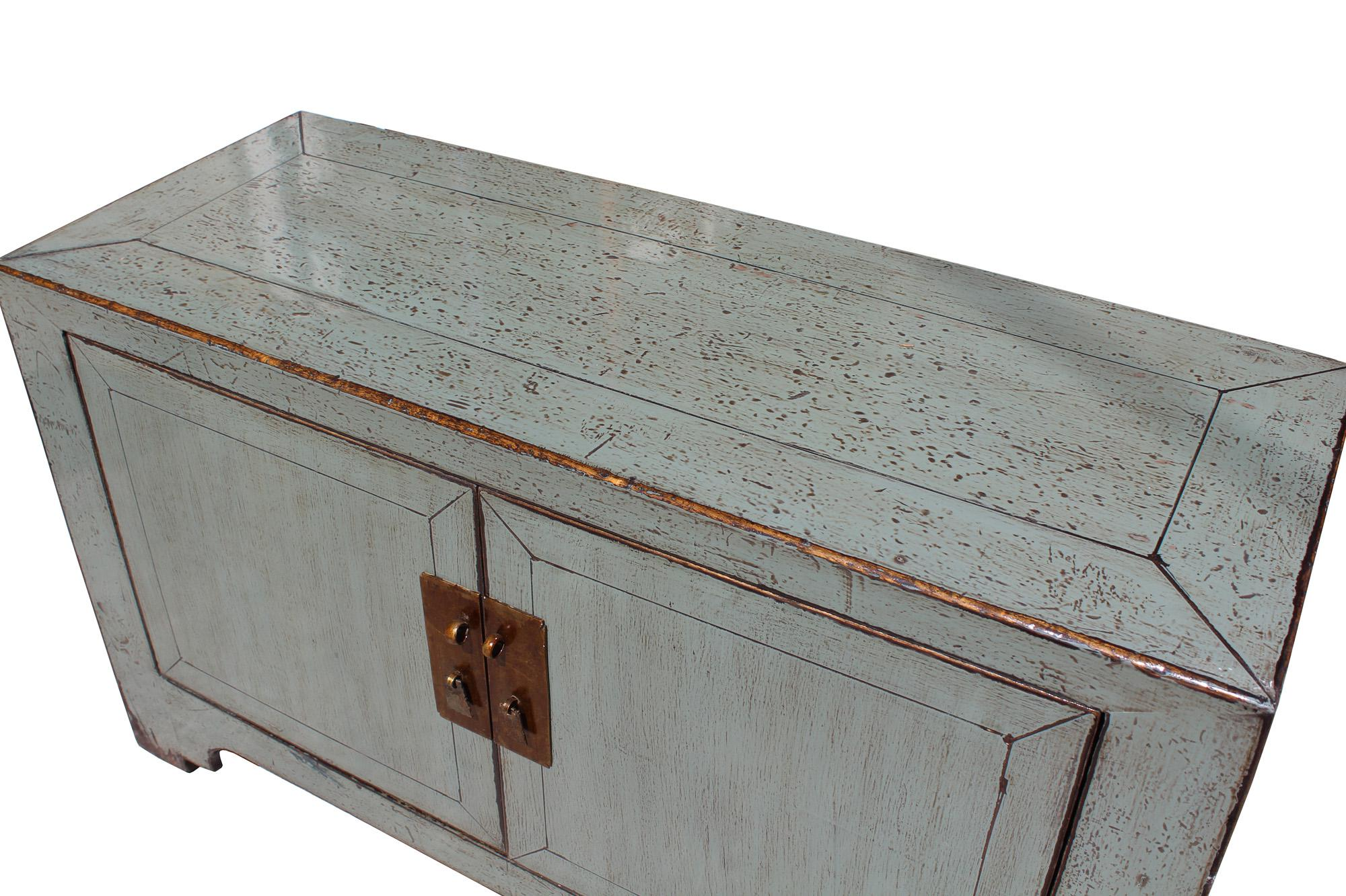 Chinese Distressed Gray Low TV Console Table Cabinet   Image 5 Of 7