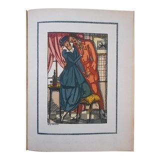 """Vintage Ltd. Ed. Hand Colored Image By Guy Arnoux""""Les Femmes De Ce Temps""""-La Froleuse (The Seductive Woman)""""-France-1920"""