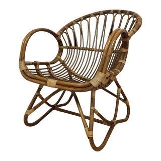 Franco Albini Style Italian Rattan Lounge Chair