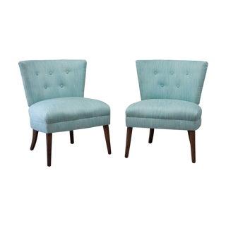 Aqua Tweed MCM Low Profile Slipper Chairs - Pair