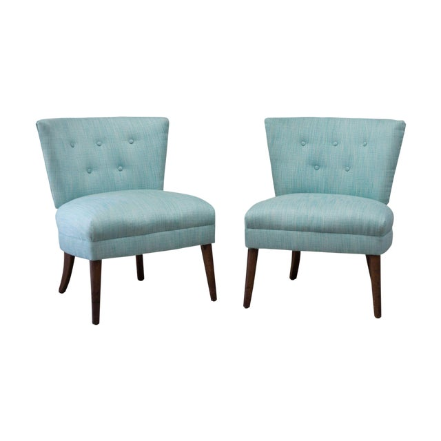 Image of Aqua Tweed MCM Low Profile Slipper Chairs - Pair