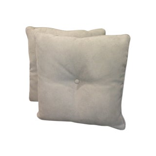 Schumacher Gray Velvet Pillows 18x18 - A Pair