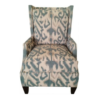 Modern Blue Ikat Print Wing Chair
