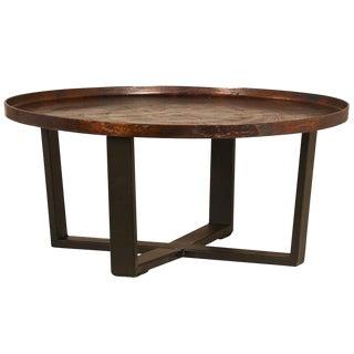 Industrial Wood Top Coffee Table