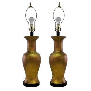 Gold Leaf Patina Table Lamps - A Pair