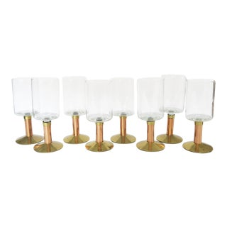 Vintage Brass and Copper Stemmed Clear Glass Wine Glasses - Set of 8