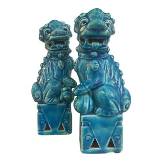Antique Turquoise Chinese Porcelain Foo Dogs - A Pair