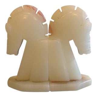 Vintage Marble Horse Head Bookends - A Pair