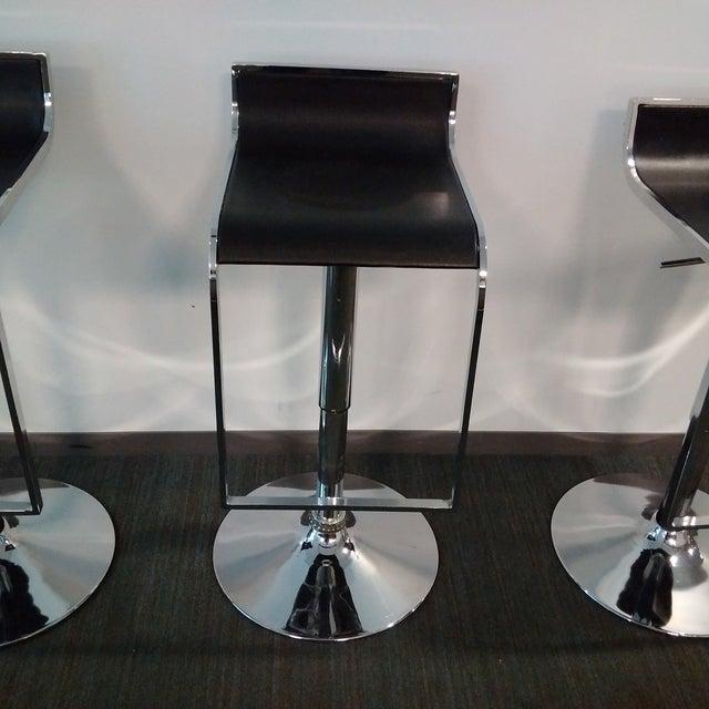 Modern Chrome & Black Bar Stools - Set of 3 - Image 5 of 7