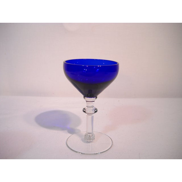 Image of 19th C. Blue and Clear Wine Glasses - Set of 3