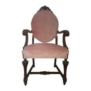 Antique Victorian Pink Velvet Chair