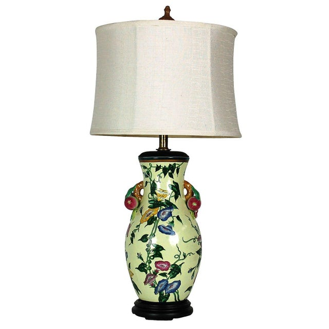 Traditional Floral Pottery Lamp with Fruit Handles - Image 1 of 4