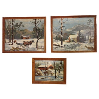 Winter Wonderland Paintings - Set of 3