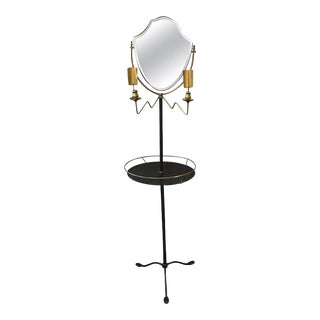 Brass & Galvanized Metal Standing Shaving Stand