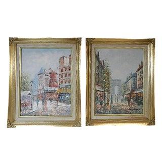 Parisian Street Scene Paintings - A Pair