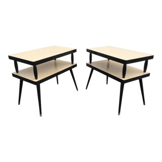 Mid-Century Two Tiered Formica End Tables - A Pair